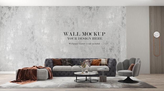 Mockup wall behind modern fabric sofa