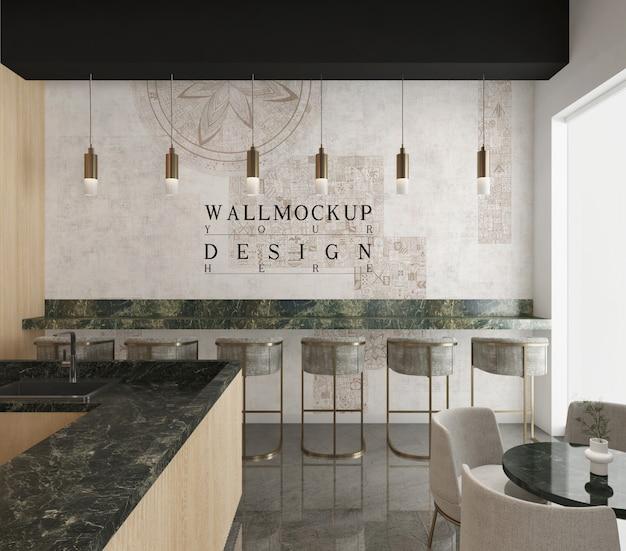 Mockup wall in modern luxury cafe bar interior