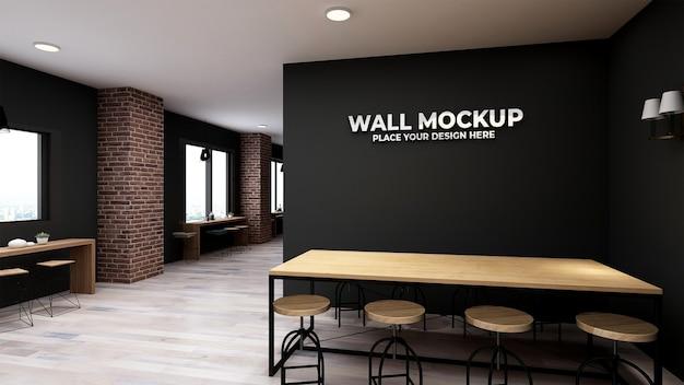 Mockup wall in modern restaurant rendering