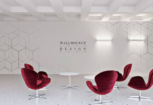 Mockup wall in modern and simple office with arm chair and table