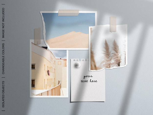 Mockup of wall moodboard with ripped taped paper