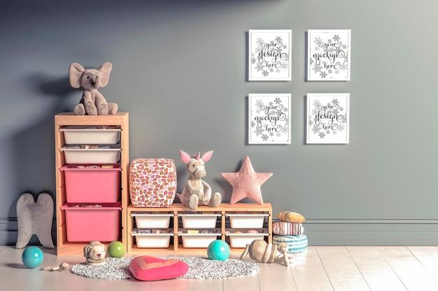 Макет настенных постеров в детской комнате в 3d-рендеринге