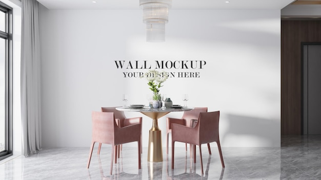 Mockup of wall behind round table set