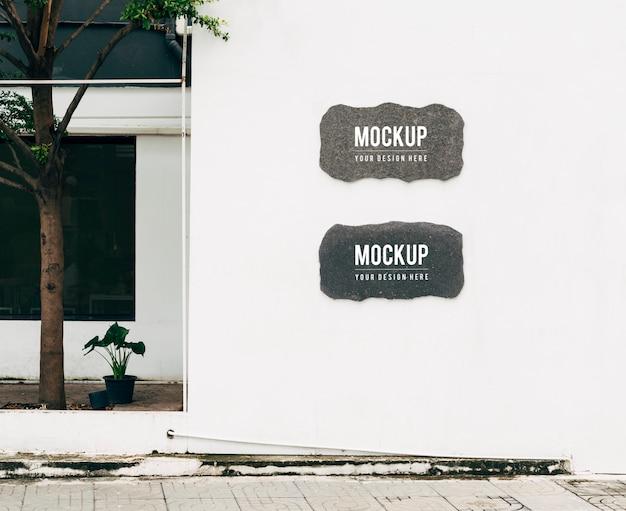 Mockup of wall sign boards