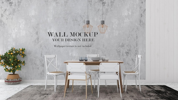 Mockup wall in simple country style dining room