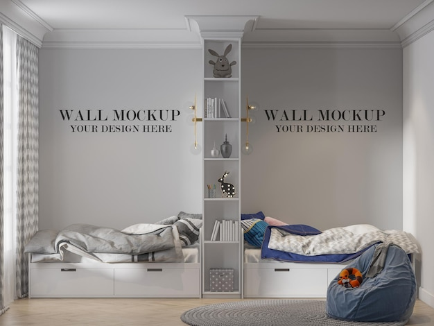 Mockup wall in twin bedroom divided with bookshelf