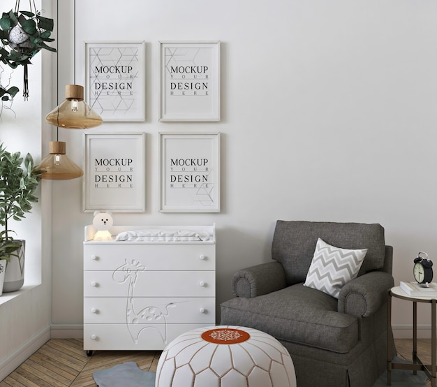 Mockup wall in white baby's bedroom