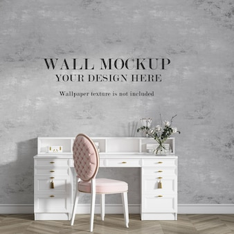 Mockup wall behind white console table