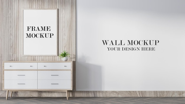 Mockup wall and wooden frame in 3d rendering
