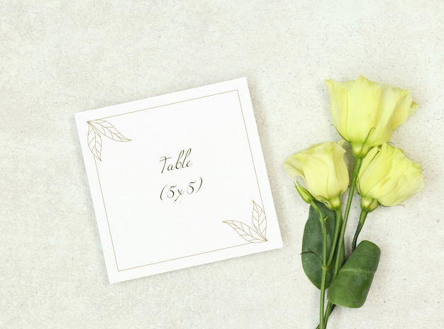 Mockup wedding card with roses