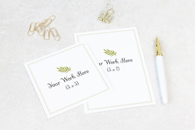 Mockup wedding card with thank you card