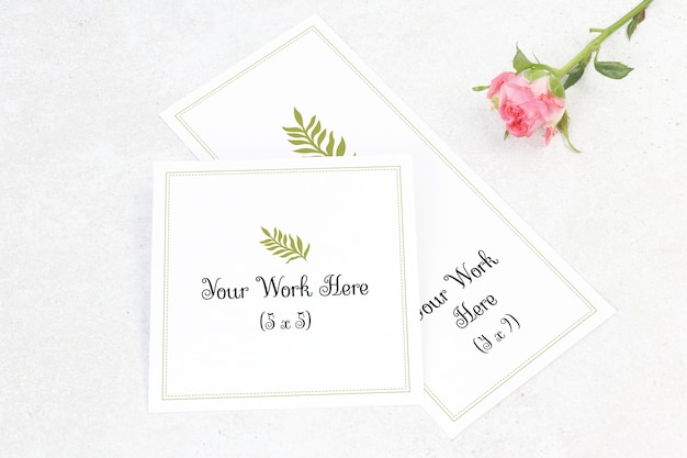 Mockup wedding menu and number card with flower