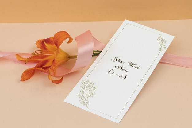 Mockup wedding menu with ribbon on beige background