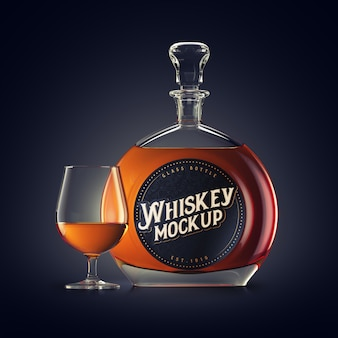 Mockup of a whiskey glass bottle with round label