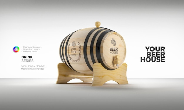 Mockup whiskey or wine barrel on stand