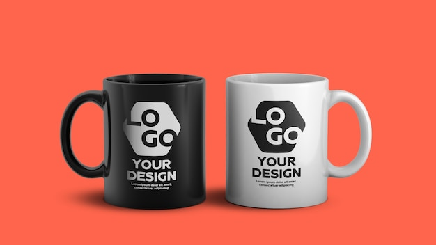 Mockup of white and black ceramic coffee mug