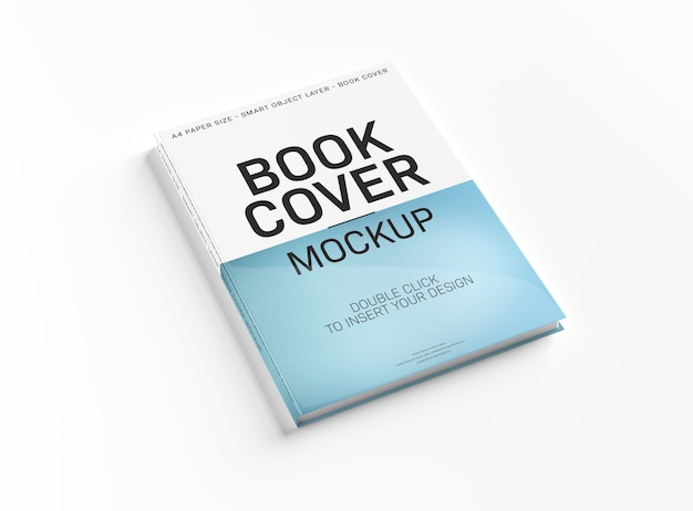 A mockup of a white book cover on white surface.