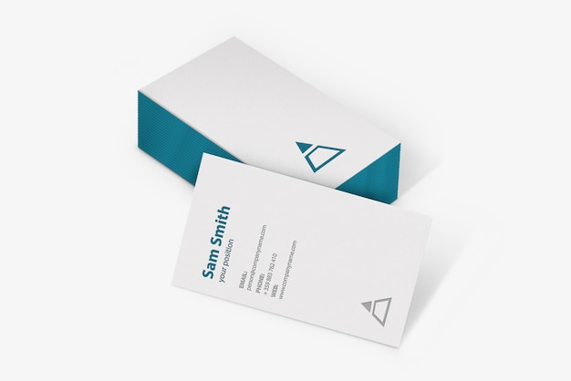 Mockup of white business cards stack with debossed effect