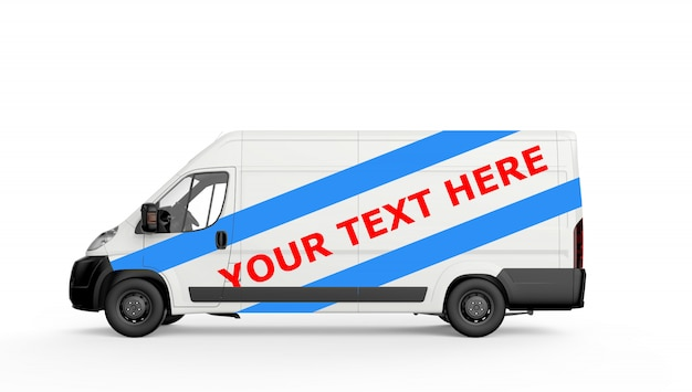 Mockup of a white commercial van