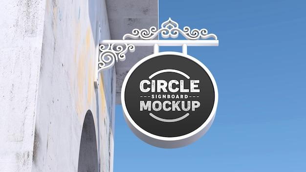 Mockup white ornament circle signboard