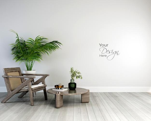 観賞植物とモックアップ白い壁