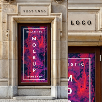 Mockup of  window glass case poster and  3d shop logo on classic architecture building