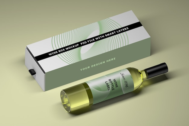 Mockup with glass wine bottle and long box