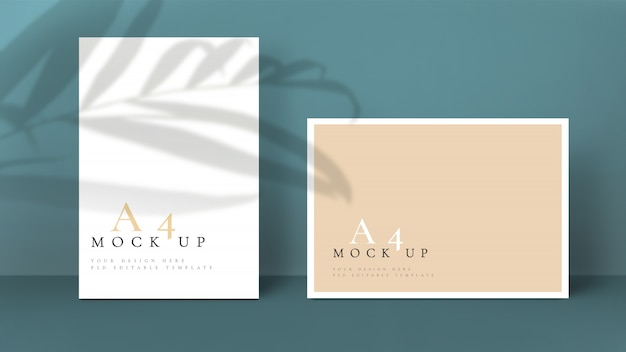 Mockup with leaf shadow editable a4 format psd.