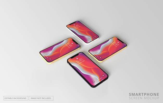 Мокап с несколькими разными экранами телефона