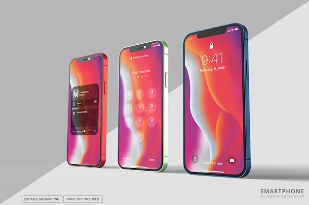 複数の異なる電話画面のモックアップ