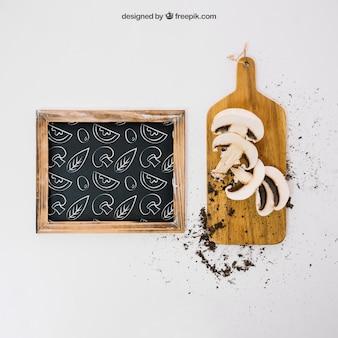 Mockup with mushrooms and slate