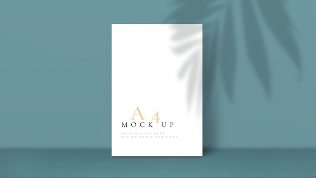 Mockup with palm leaf shadow design template.