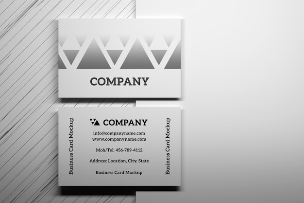 Mockup with top view of business cards