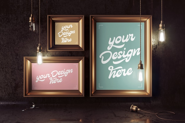 Mockup with a vintage bronze lamps and four pictures frames