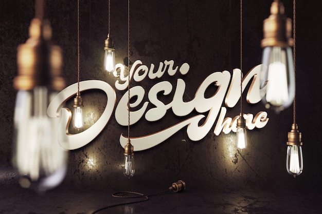 Mockup with a vintage bronze lamps
