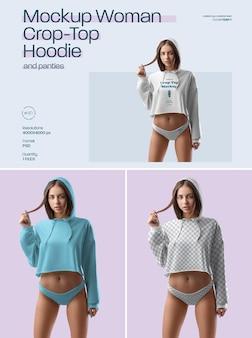 Mockup woman croptop hoodie and panties