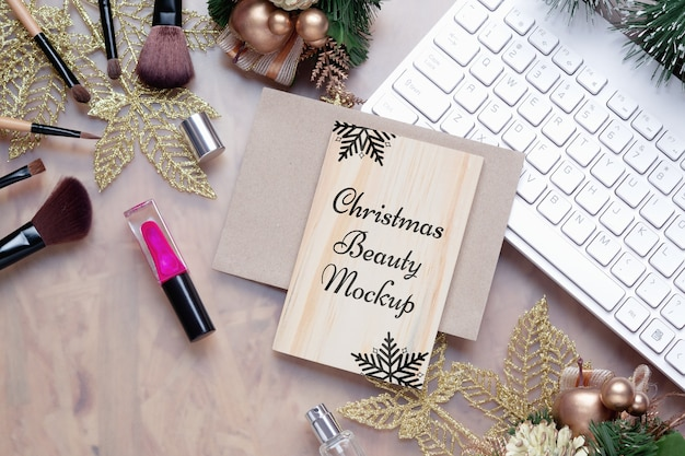 Mockup wood board for beauty christmas new year background concept
