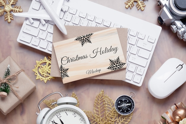 Mockup wood board for christmas new year holiday travel background concept