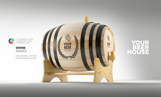 Mockup wooden barrel on stand