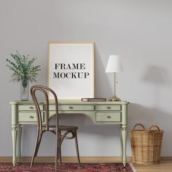 Mockup wooden frame on desk leaning against wall