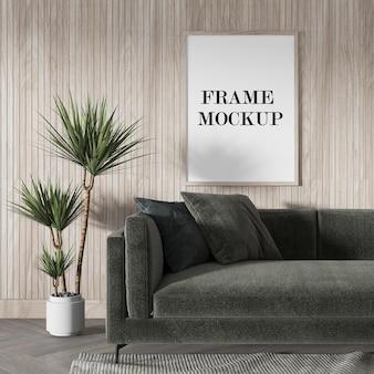 Mockup wooden frame above green sofa