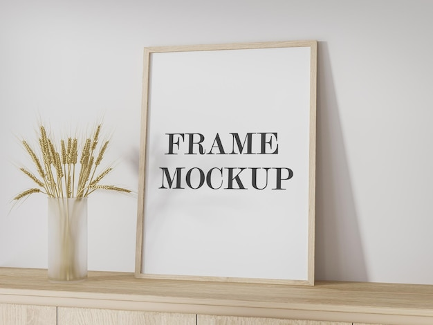 Mockup wooden frame leaning against wall