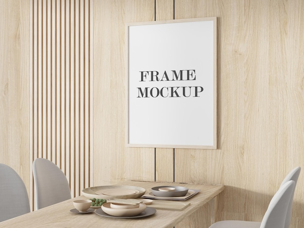 Mockup wooden frame on wooden wall