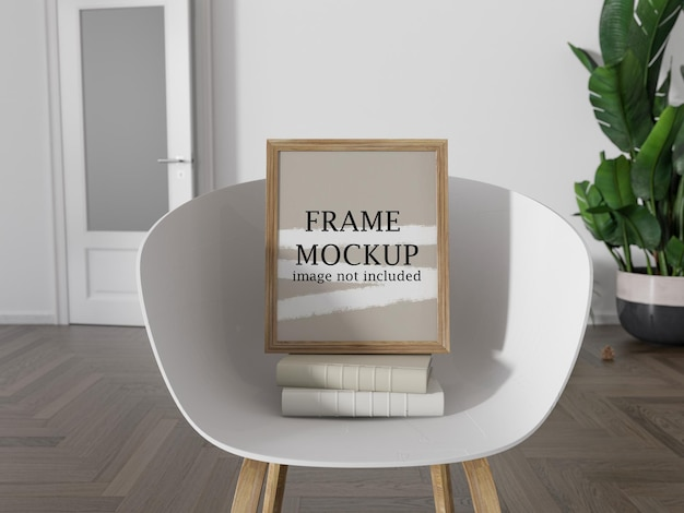Mockup wooden picture frame on chair