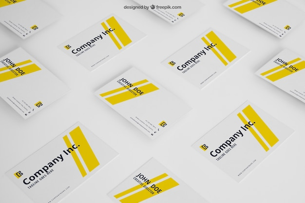 Mockup of yellow business cards