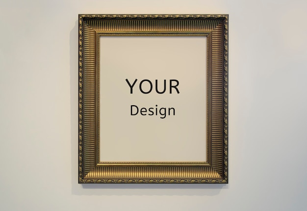 Mockup your design sign golden picture frame and wall texture