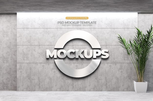 Mockups 3d logo style emboss,plant,light and cement texture line pattern