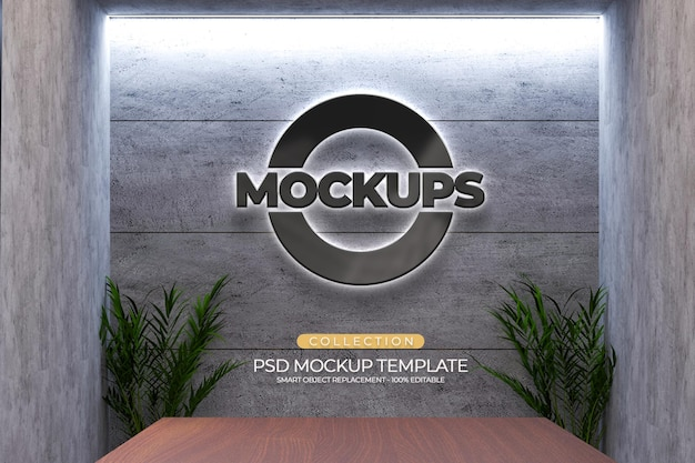 Mockups 3d logo style emboss, plant, light office with cement wall texture