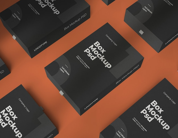 Mockups of boxes with changeable color and editable layers