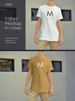 Mockups of an elongated t-shirt on a young guy